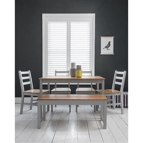 grey dining room table with bench annika dining table with 4 chairs bench in silk grey