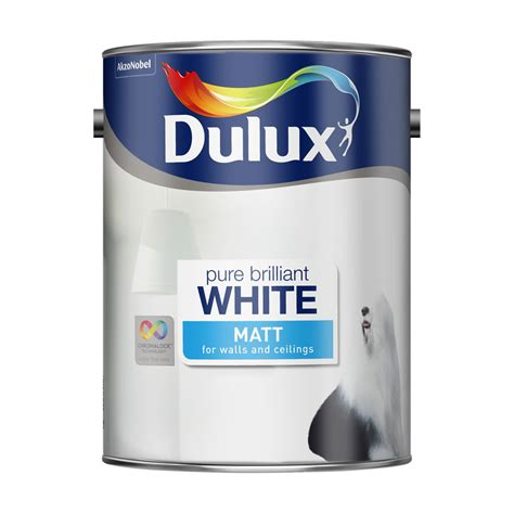 dulux matt emulsion paint brilliant white 5ltr at wilko