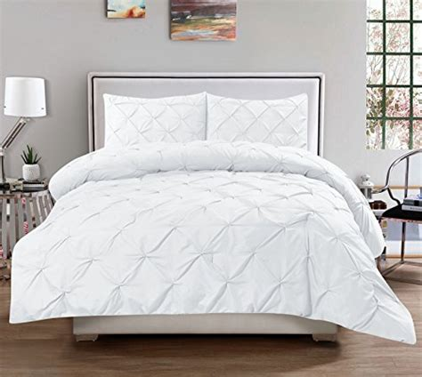 All White Comforters Sets by 3 Luxurious Pinch Pleat Decorative Pintuck Comforter