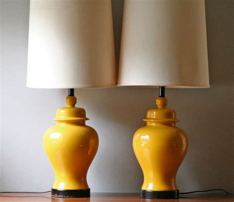 pair of vintage yellow ceramic table lamp