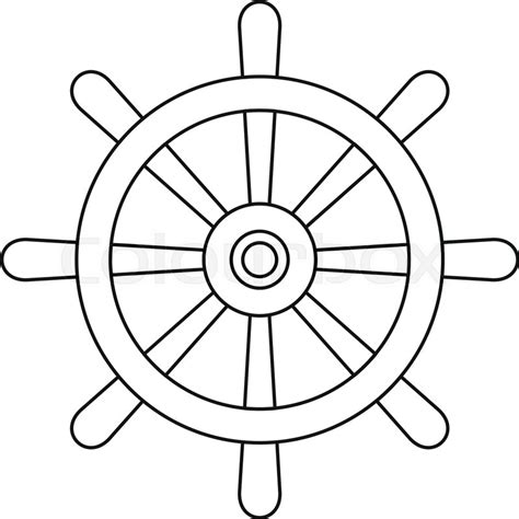 boat ore clipart wooden ship wheel icon in outline style isolated vector
