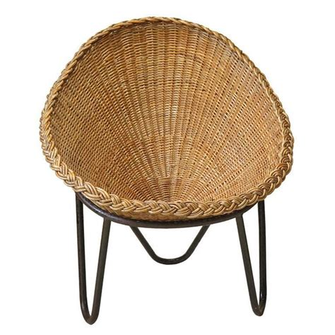 Wicker Lounge Chairs Sale by Wicker And Iron Lounge Chair 1950s For Sale At