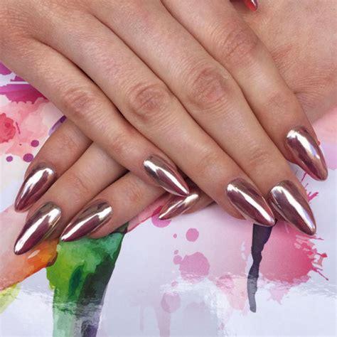 rose gold chrome rose gold chrome nails nailpro