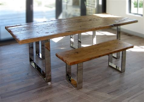 reclaimed wood dining table and bench hand crafted modern reclaimed wood table and benches by