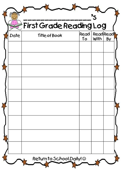 printable reading log 1st grade first grade wow reading log