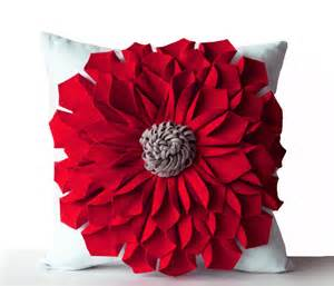 Flowered Pillows - felt flower pillow cover red gray white pillow case floral