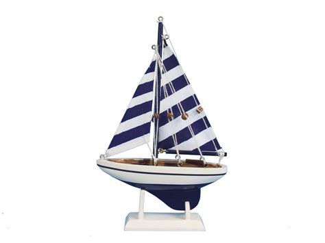 toy boat decoration buy wooden blue striped pacific sailer model sailboat