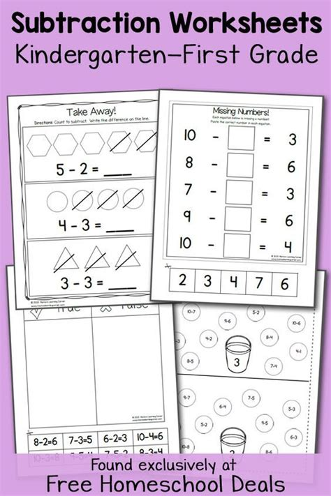 Homeschooling Worksheets For Kindergarten by 25 Best Ideas About Subtraction Kindergarten On