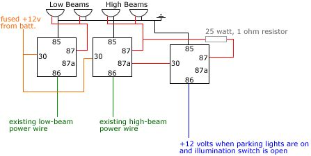headlight relays diagram included