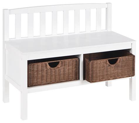 white bench for bedroom brazos white bench with brown rattan baskets farmhouse