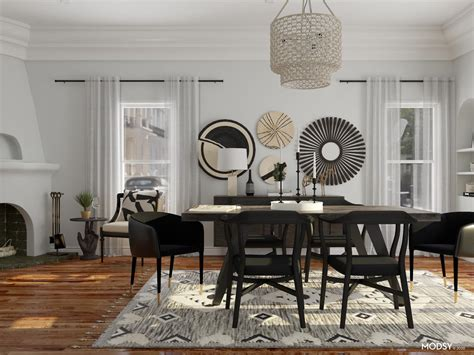 eclectic dining room black white eclectic style