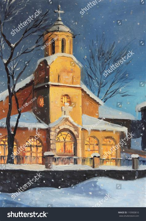 oil painting  canvas   christmas night magical