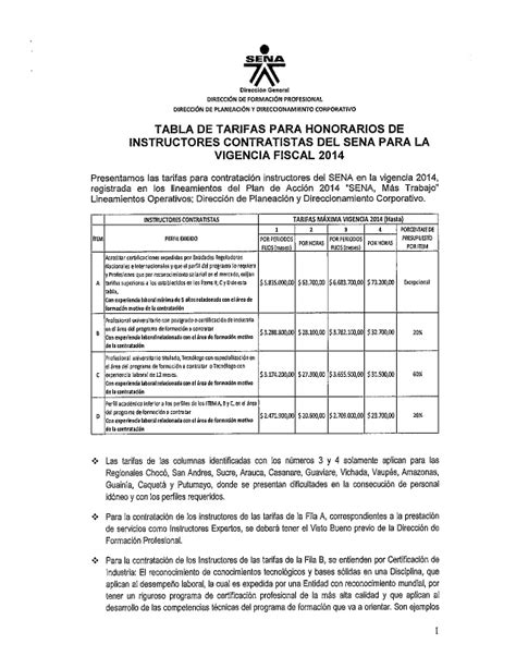 Anexo N 10 Tabla Tarifas Honorarios Instructores Contratistas Sena | anexo n 10 tabla tarifas honorarios instructores