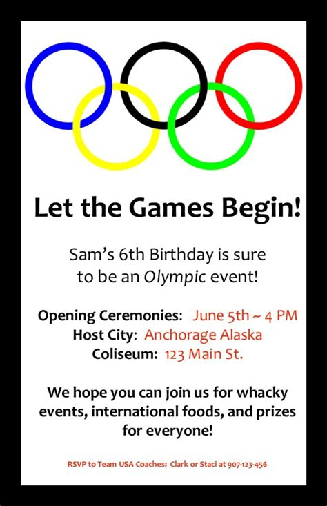 Olympic Birthday Invitation Olympic Birthday Party Pinterest Olympics And Birthdays Olympic Invitation Template