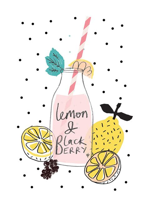 Drawing 4 Summer by Lemon And Blackberry Drawing Drink Fruit Summer