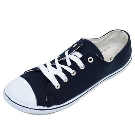 shoes size 6 mens navy canvas flat trainer plimsoll pumps lace up