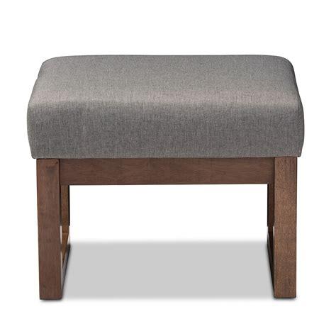 modern ottomans and stools baxton studio yashiya mid century retro modern grey fabric