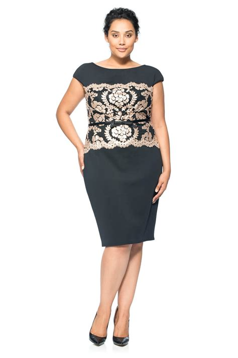 Sxsl5t Dress Size Ssize M Size L Dress Pestasimple Dress Onsale neoprene and paillette lace dress plus size tadashi shoji