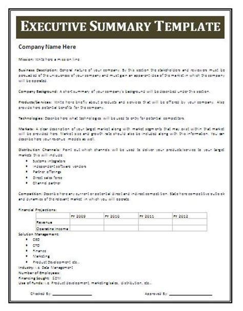 best executive summary template summary template playbestonlinegames