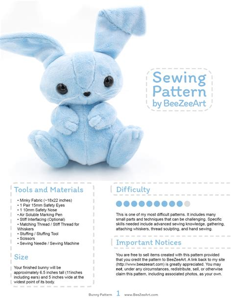 sewing pattern stuffed animal bunny stuffed animal sewing pattern plush toy pattern rabbit