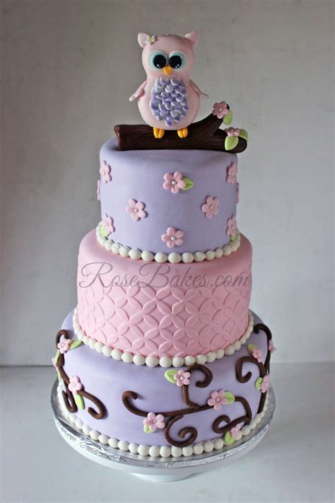Baby Shower Owl Cake by Pink Owl Baby Shower Cake Bakes