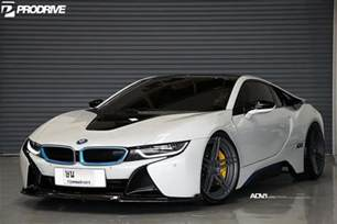 pearl white bmw i8 with adv 1 wheels and