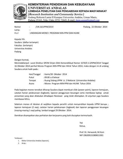 format artikel pengabdian pengumuman undangan monev program kkn ppm dan hilink