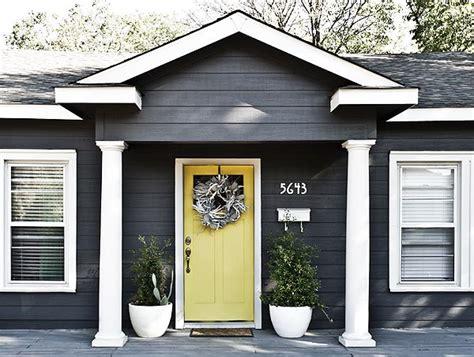 gray house yellow door dark gray exterior with bright door art studio pinterest grey exterior dark grey and bright
