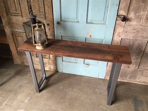 wood and metal sofa table reclaimed wood industrial console table h shaped metal legs