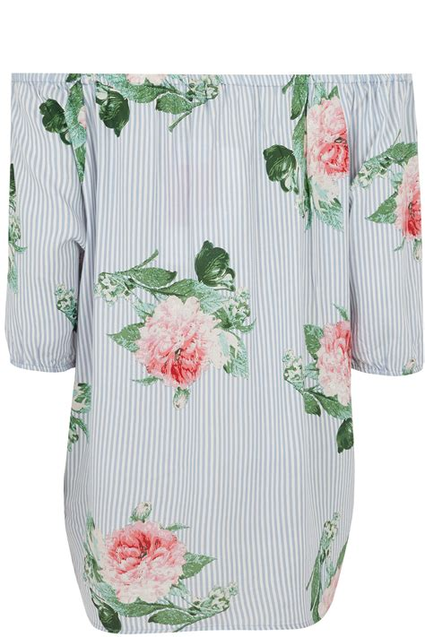 41810 Flowers Dress blue white stripe bardot top with floral print plus size 16 to 36
