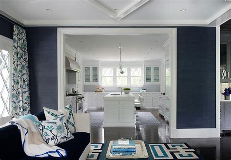 navy blue and white living room blue living room with navy grasscloth contemporary
