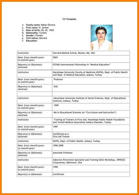 format of curriculum vitae 2014 8 sle of a curriculum vitae for application edu techation