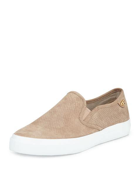 burch slip on sneaker burch floyd slip on leather sneaker in beige taupe