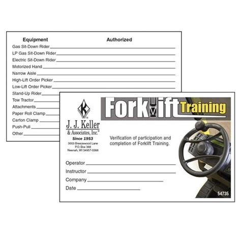 forklift training wallet cards