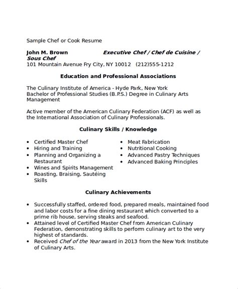 8 Sle Chef Resumes Sle Templates Cook Resume Template