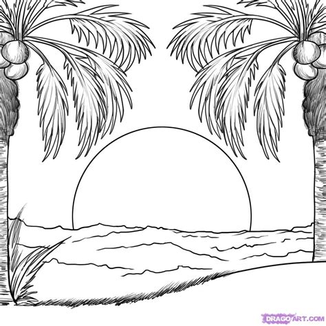 how to draw a for outline drawing for scenery how to draw a sunset step by step other landmarks