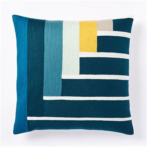 Crewel Pillow Covers by Margo Selby Linear Crewel Pillow Cover West Elm