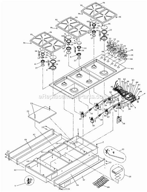 dacor cooktop replacement parts dacor sgm466 parts list and diagram after mf0000000