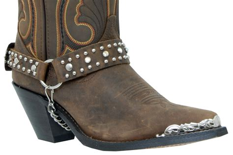 boot straps alm 404st brown boot brown leather with rhinestones