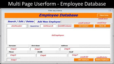 employee database template multi page userform employee database