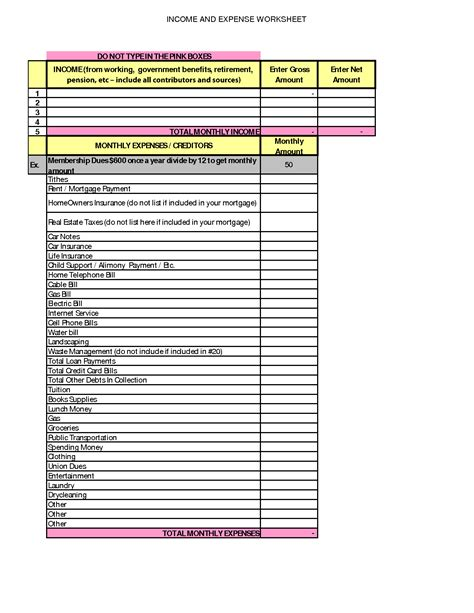 Income And Expense Worksheet by Income And Expenditure Spreadsheet Images