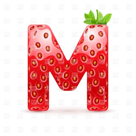 strawberry style font letter m vector clipart image