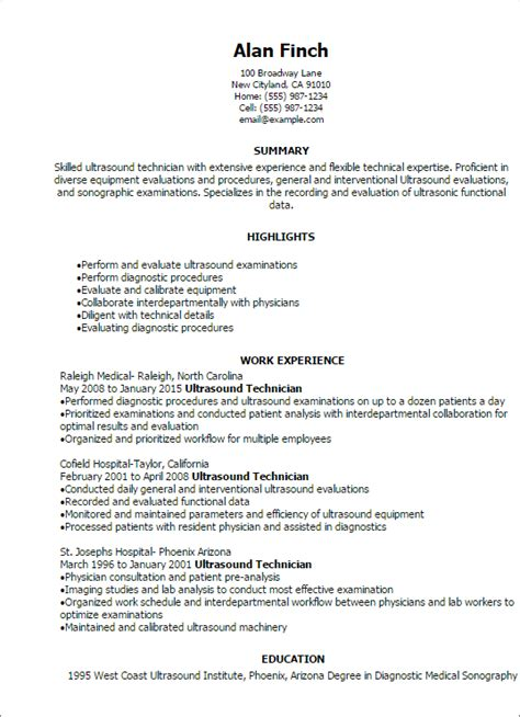 Entry Level Ultrasound Technician Resume Sle Professional Ultrasound Technician Resume Templates To Showcase Your Talent Myperfectresume