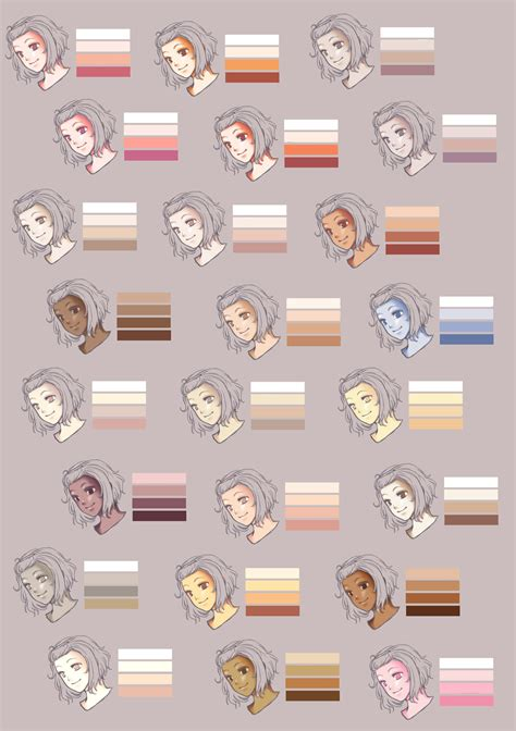 skin colour palette by rueme d337ggs jpg 1 082 215 1 536 pixels drawings character