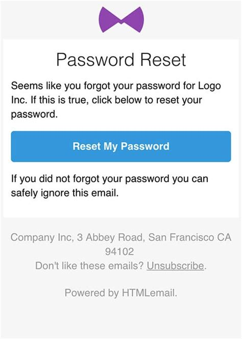 password change email template responsive forgot password reset email template