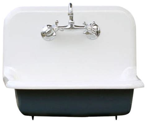 Antique Style High Back Farm Sink Cast Iron Porcelain Wall