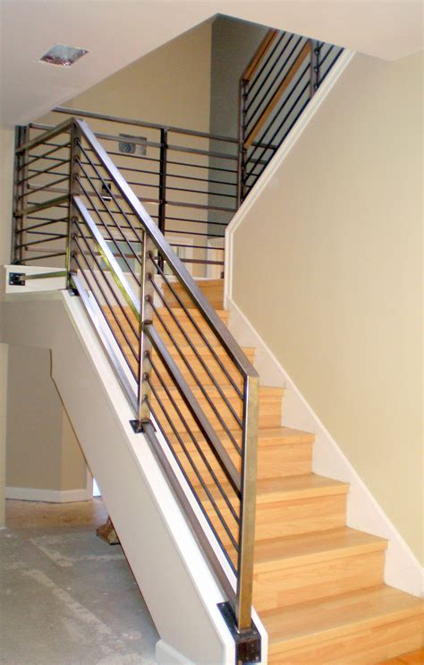 Metal Banister Incridible Chrome Metal Railing Banister With Oak Steps As