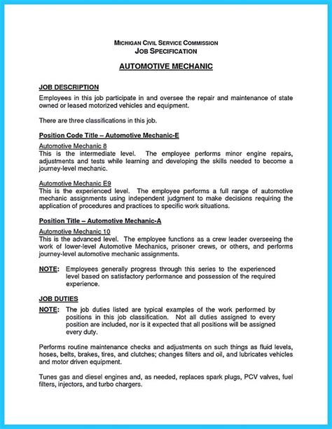 Mechanic Resume Objective by 1000 Ideas About Resume Objective Exles On Resume Objective Customer Service