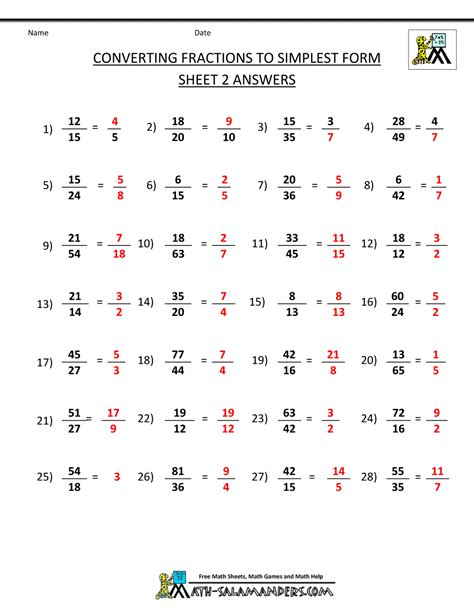 Fraction Worksheets With Answers by How To Simplify Fractions