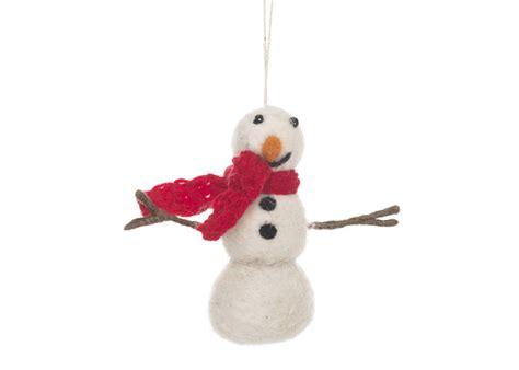 Handmade Snowman - handmade felt snowman with knitted scarf by felt so